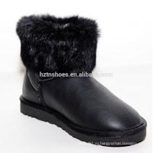 Новые зимние леди плоские лисы мех снег короткие сапоги для девочки