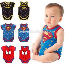 Горячая распродажа новорожденный ребенок мужская ползунки 100% хлопок детские ползунки младенческой супер герой девочка romper