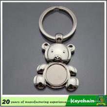Forma de Urso de Chaveiro de Metal em Branco