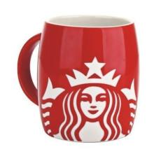 Caneca de café vermelha de Starbucks da porcelana