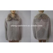 Camisola Erdos Cashmere para mulheres com genuise Raccoon Collar