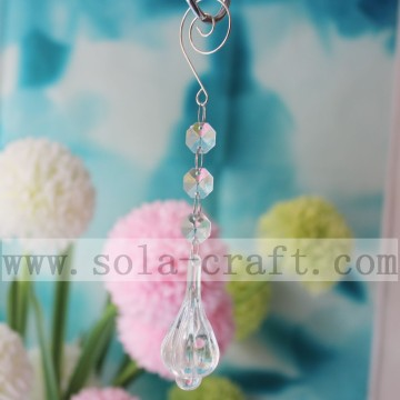 Clear Crystal Lamp Chandelier Prism Drop With Octagon Bead