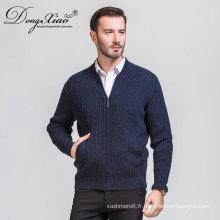 Les meilleurs produits de vente des hommes les pulls gris foncé de cardigan de cachemire d'hiver avec la tirette