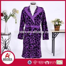 Adulte pas cher chaud chemise de nuit corail molleton imprimé léopard peignoir