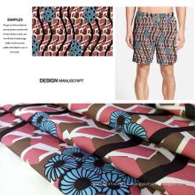 Poliéster cepillado a tela impresa para playa pantalones cortos, pantalones, Cacual usa
