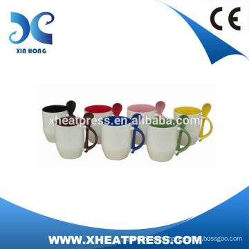 heat press Ceramic Mug with Spoon,Coffee Mug with Spoon HOT SALE