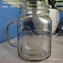 450ml Embossed Clear with Handle Glass Mason Jars for Sale