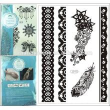Diseños de moda Patrones de playa Metálico Etiqueta de tatuaje temporal Etiquetas de tatuaje impermeable en el cuerpo j010