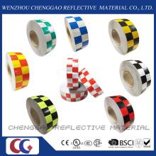 Multi cor conspicuidade segurança xadrez fita reflexiva de aviso (C3500-G)