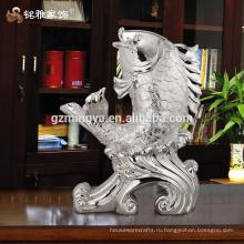 Домашнее украшение шт роскошные серебряные удачи рыбы декоративные смолы ремесла для домашнего декора
