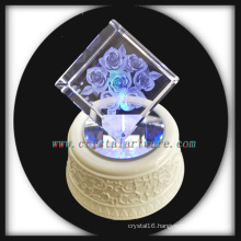 3d Laser Engraved Crystal Rose Cube with Music Rotate Led Base
