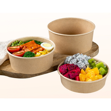Paper food packaging disposable biodegradable Kraft paper salad bowls take away food container with lid