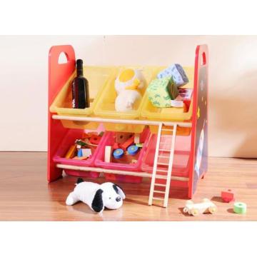 Usine d'alimentation en bois Ensemble de rangement de jouets Poubelle en plastique Meuble de rangement