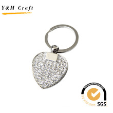 New Design Heartshape Metal Key Ring with Diamonds (Y02379)