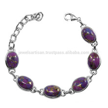 925 Silver With Purple Copper Turquoise Gemstone Chain Bracelet for Boys