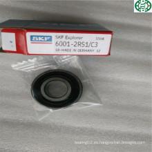Hecho en Alemania Rodamiento de bolitas profundo del surco del sello de goma SKF 6001-2RS1 / C3
