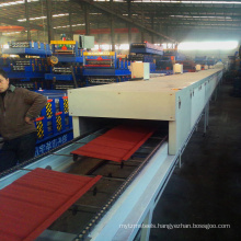Color steel antique plain panel sandblasting machiney stone coated metal roof tile making machine