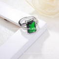 wholesale OEM Fashion Silver Ring Deep Green Stone Clear CZ Indian Emerald Rings