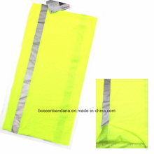 Promotional Custom Solid Light Yellow Reflective Stripes Heated Sports Neck Tube Buff