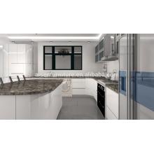 Avanzada Alemania fábrica de máquinas directamente gabinete de cocina moderna con marco de aluminio puertas de cristal del gabinete de la pared