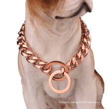 Factory Drop Shipping 19mm Dog Choker Rose Gold Pet Dog Chains For Rottweiler Doberman Bully Accessories