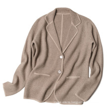 PK18CH009 100% natural cashmere knit suit collar cardigan High end lady cardigan