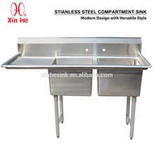 Freestanding Commercial Stainless Steel 2 Two Compartment Sink with Drainboard