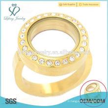 Vente chaude en acier inoxydable or ronde cristal flottant locket anneau bijoux design