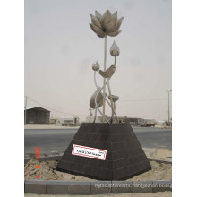 Modern Large Famous Abstract Arts Stainless steel304 Flower Sculpture for Outdoor decoration
