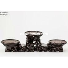 Rosewood Convex Tres conectados Yixing Pots Stand (Negro)