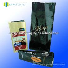Sacos de café feitos sob encomenda do ziplock impresso com o reforço lateral / saco de café polis / bolsa de grão de café de pé