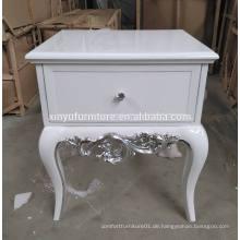 Europäischer weißer geschnitzter Nachttisch XYN314