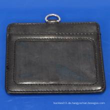 Heißer Verkauf echtes Leder Identifikation-Kartenhalter mit Ihrem kundenspezifischen Firmenzeichen u. Namen