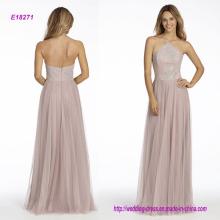 Rose English Net A-Line Brautjungfer Kleid mit Kaviar Mieder, High Neck Halter Ausschnitt und Circular Rock