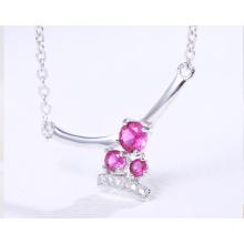 "Romantic style three ruby zircon main stone handmade women choker necklace 18"""