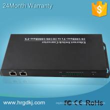 2 conversor de mídia de porta de fibra Ethernet 8