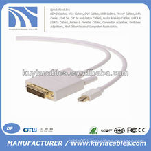 1.8m White Mini Display Port to DVI Adapter Cable