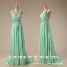Mint Evening Dress Chiffon Floor Length Beaded Rhinestones Formal Evening Gown
