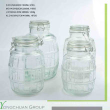 Pot de stockage en verre avec couvercle en verre clip