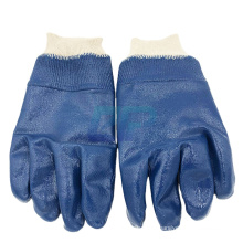 ppe equipment blue rubber gloves with knit wrist
