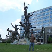 современный сад скульптура металл ремесло в натуральную величину обнаженных статуй для музика скульптура