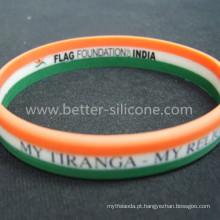 Bracelete colorido personalizado do silicone listrado