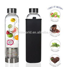 Wholesale Clear Double Wall Drinking Borosilicate Glass Copper Insulated Water Bottle