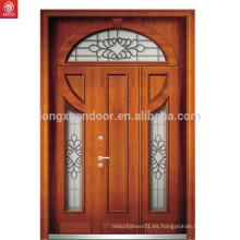 Puerta de nogal rojo puerta de madera laminada doble puerta principal talla diseños