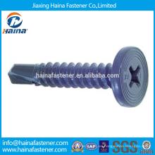 China Supplier El mejor precio En existencia Corbon Steel Cross Recess Pancake Head Tornillo Con Zinc plateado / Teflon / Docromet Superficie