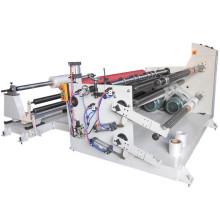Papierschneidmaschine für Klebepapier Schlitz und Rückspulen