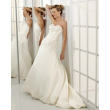 A-line Sweetheart Cathedral Train Satin Beading Wedding Dress leverandør