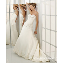 Pemasok A-line Sweetheart Cathedral Train Satin Beading Wedding Dress