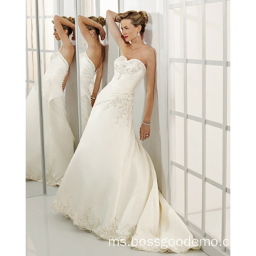 Pembekal A-line Sweetheart Cathedral Train Satin Beading Wedding Dress