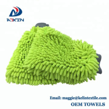 Lime Green Car Wash Washing Microfiber Chenille mitt Cleaning Gloves for Car